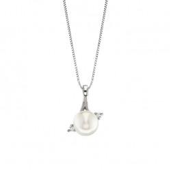 Lantisor din aur 18K cu pandantiv cu perla 0,50 gr. si diamante 0,04 ct., model Orsini 0371CI