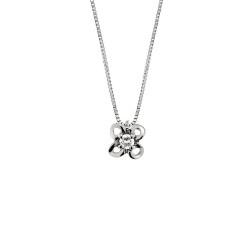 Lantisor din aur alb 18K cu pandantiv cu diamant 0,05 ct., model Orsini 0390CI