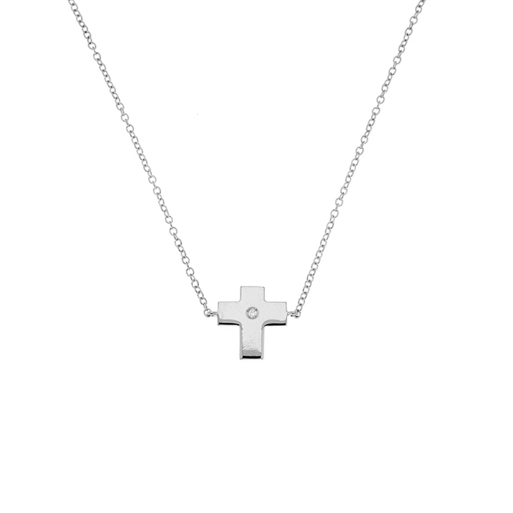 Lantisor din aur 18K cu pandantiv cruciulita cu diamant 0,01 ct., model Orsini 0419CI
