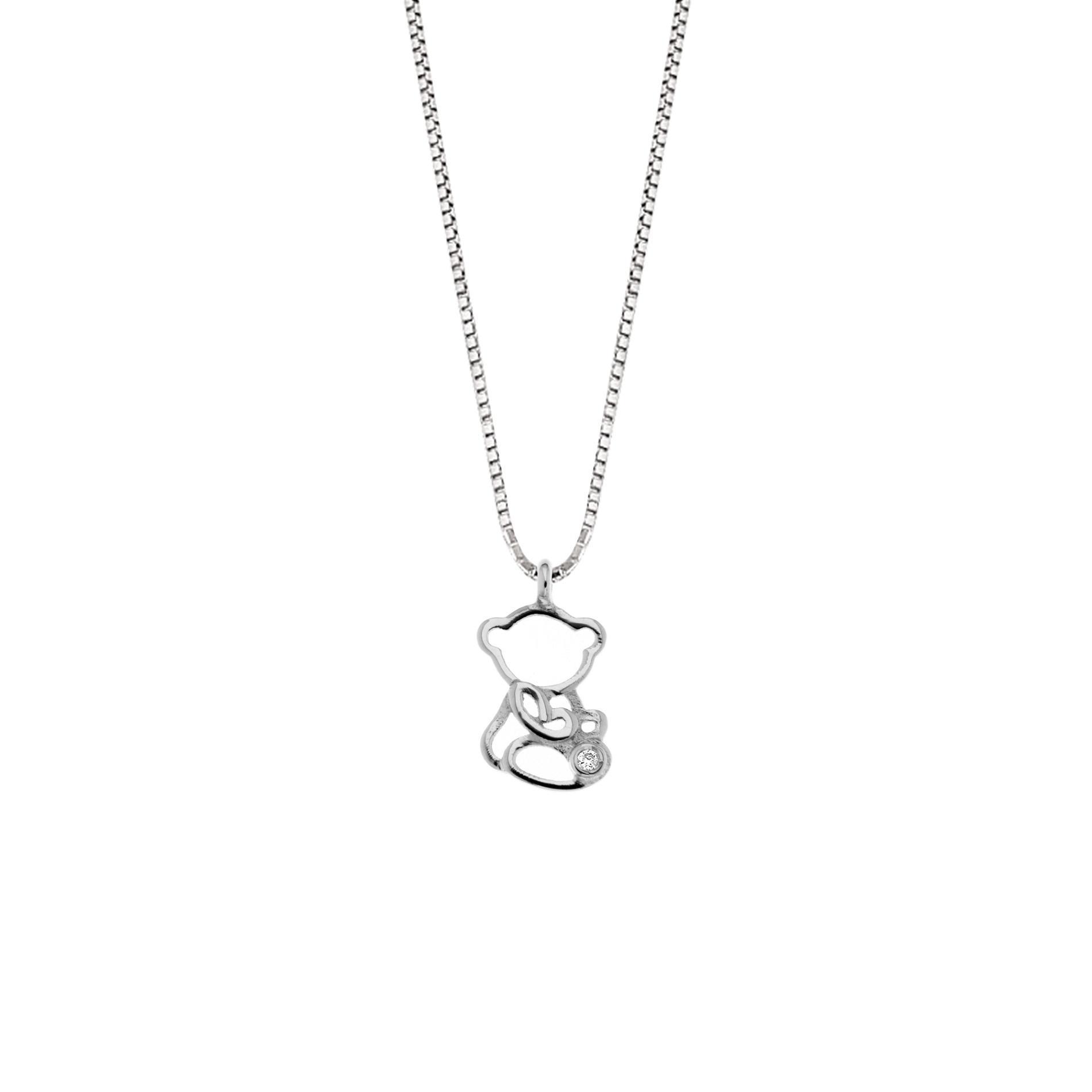 Lantisor din aur 18K cu pandantiv ursulet cu diamant 0,005 ct., model Orsini 0433CI