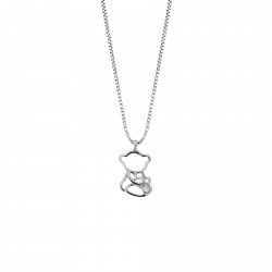 Lantisor din aur alb 18K cu pandantiv ursulet cu diamant 0,005 ct., model Orsini 0433CI