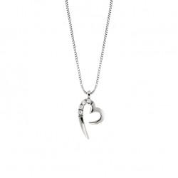 Lantisor din aur alb 18K cu pandantiv inima cu diamante 0,02 ct., model Orsini 0434CI