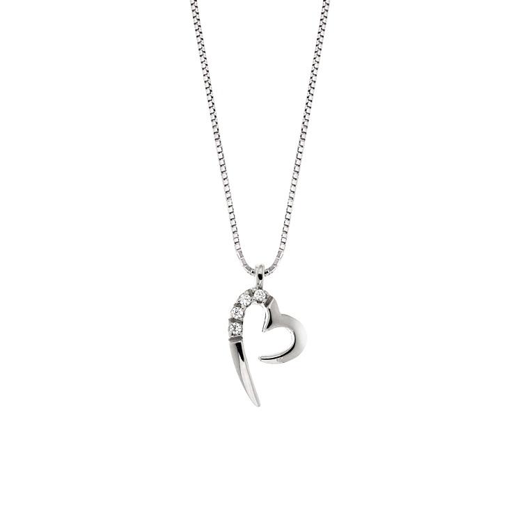 Lantisor din aur 18K cu pandantiv inima cu diamante 0,02 ct., model Orsini 0434CI