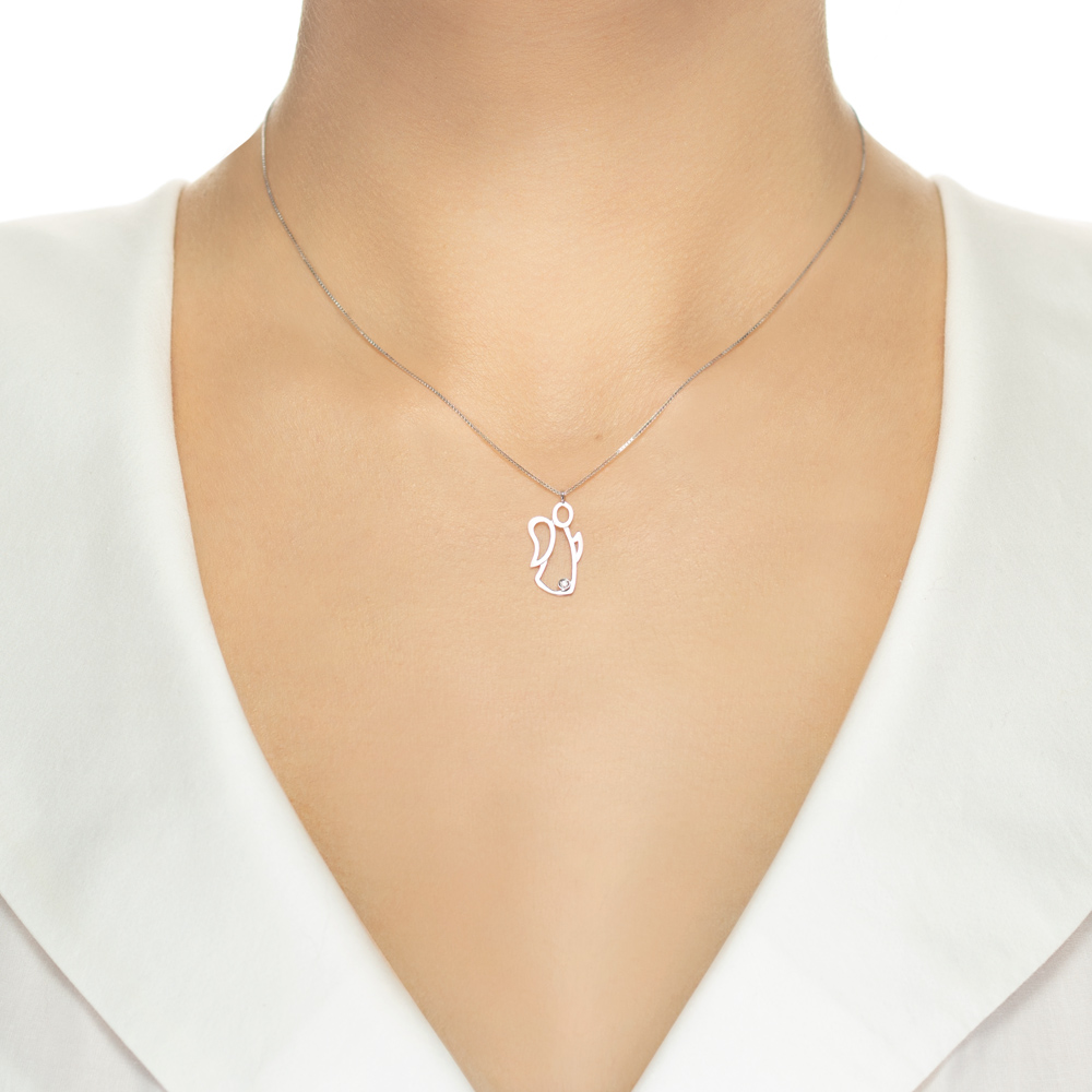 Lantisor din aur 18K cu pandantiv ingeras cu diamant 0,01 ct., model Orsini 0436CI