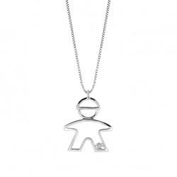 Lantisor din aur 18K cu pandantiv baietel cu diamant 0,01 ct., model Orsini 0438CI