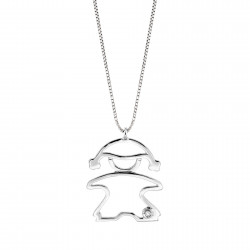 Lantisor din aur 18K cu pandantiv fetita cu diamant 0,01 ct., model Orsini 0439CI