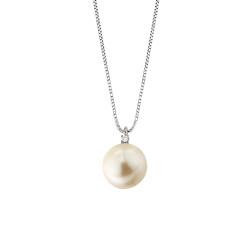 Lantisor din aur 18K cu pandantiv cu perla 0,30 gr. si diamant 0,01 ct., model Orsini 0461CI-01