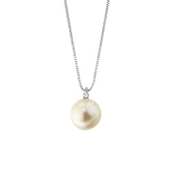 Lantisor din aur 18K cu pandantiv cu perla 0,50 gr. si diamant 0,01 ct., model Orsini 0461CI-02