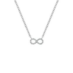Lantisor din aur 18K cu pandantiv infinity cu diamante 0,10 ct., model Orsini 0465CI