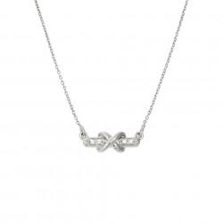 Lantisor din aur alb 18K cu pandantiv cu diamante 0,02 ct., model Orsini 0477CI