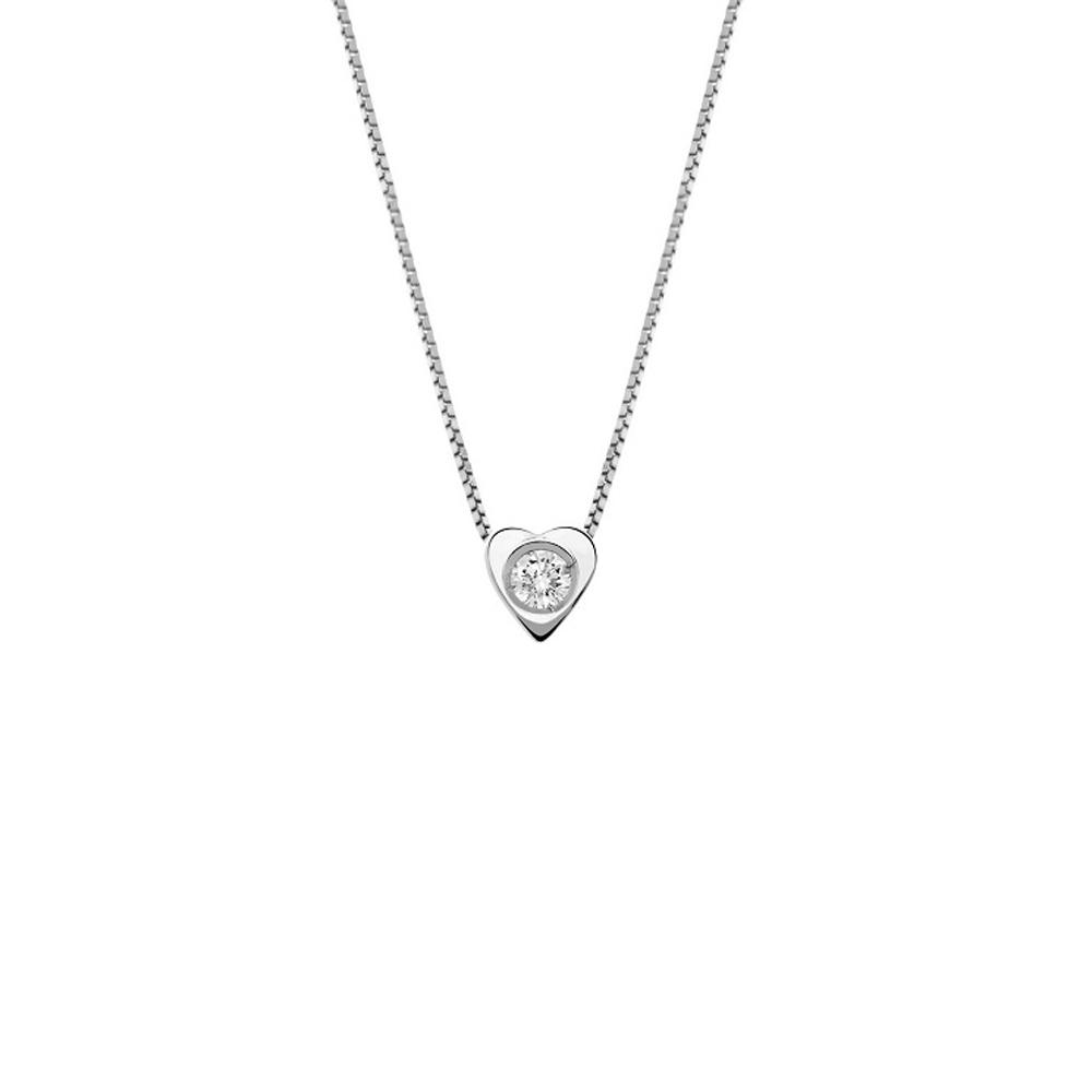Lantisor din aur 18K cu pandantiv inima cu diamant 0,04 ct., model Orsini 0478CI