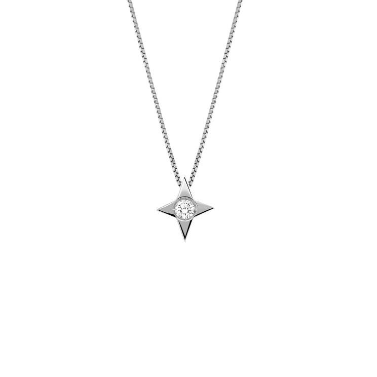 Lantisor din aur 18K cu pandantiv steluta cu diamant 0,04 ct., model Orsini 0479CI