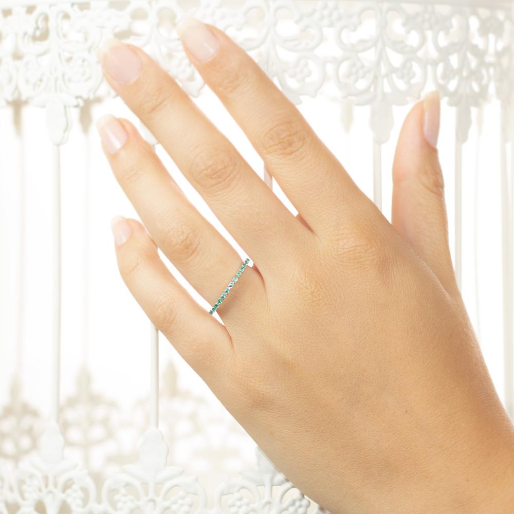Inel eternity din aur 18K cu smaralde 0,27 ct., model Orsini 0850-S