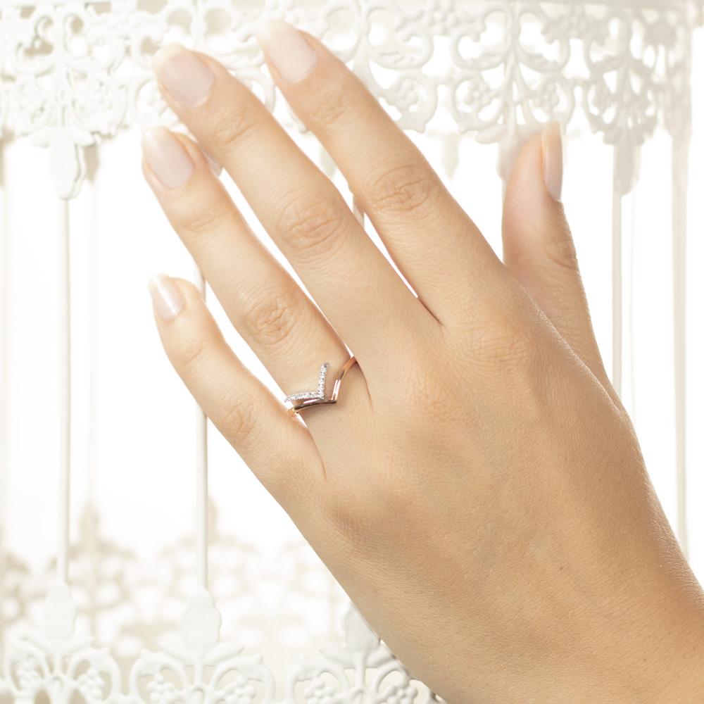 Inel din aur 18K cu diamante 0,06 ct., model Orsini 0962