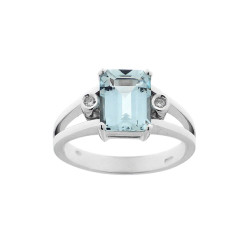 Inel de logodna din aur 18K cu acvamarin 1,72 ct. si diamante 0,02 ct., model Orsini 1768M