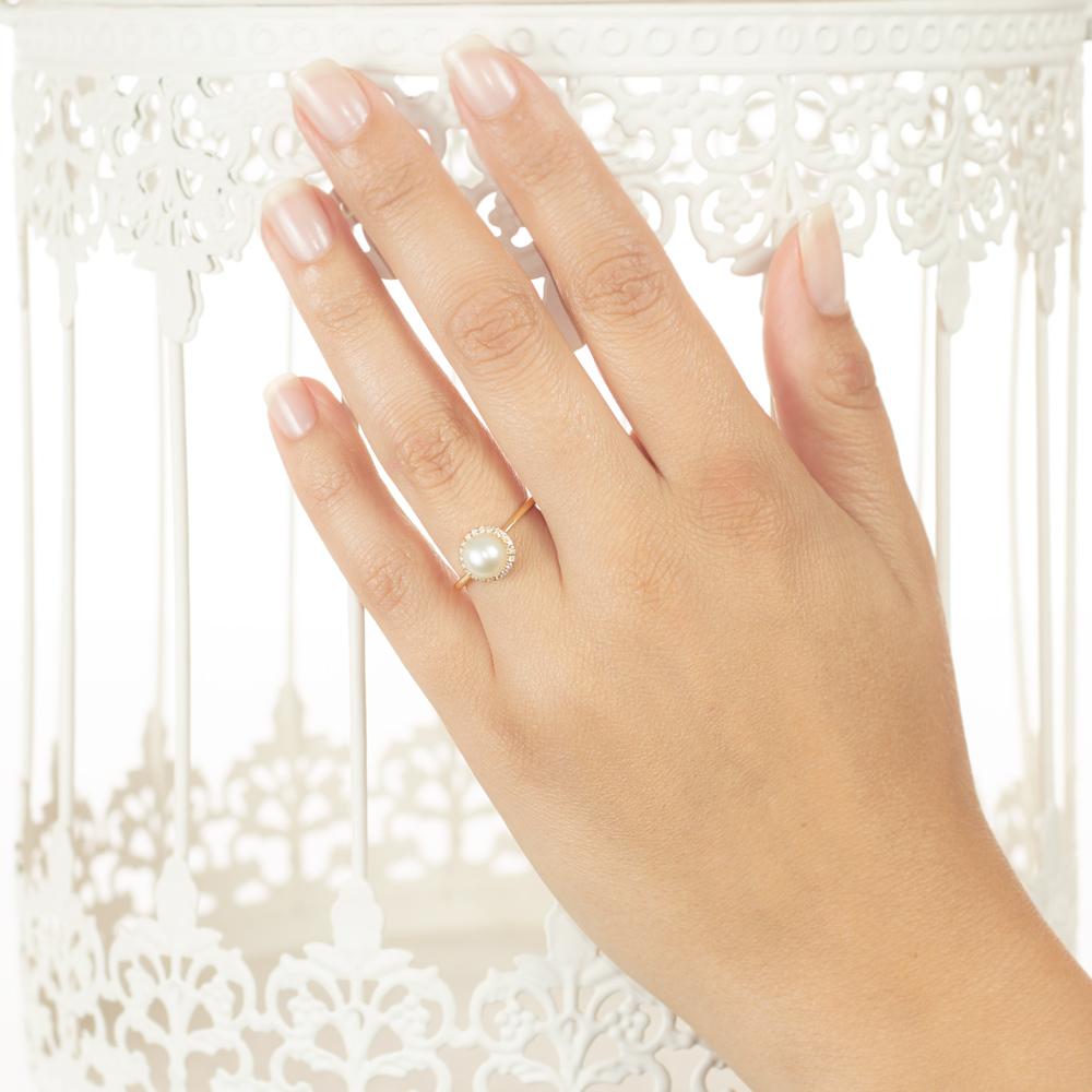 Inel de logodna din aur 18K cu perla si diamante 0,11 ct., model Orsini 2114G