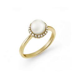Inel de logodna din aur galben 18K cu perla si diamante 0,11 ct., model Orsini 2114G