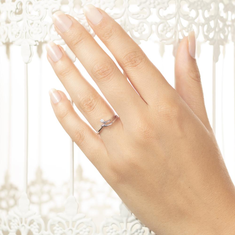 Inel de logodna din aur alb 18K cu diamant 0,04 ct., model Orsini 2330G
