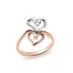 Inel din aur 18K cu diamante 0,07 ct., model inima, Orsini 2354G