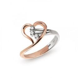Inel din aur 18K cu diamante 0,08 ct., model inima, Orsini 2355G