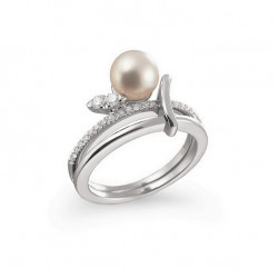 Inel de logodna din aur 18K cu perla si diamante 0,17 ct., model Orsini 2370G