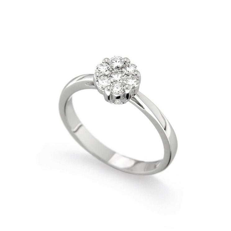 Inel de logodna din aur alb 18K cu diamante 0,42 ct., model Orsini 2412G-G