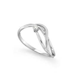 Inel de logodna din aur alb 18K cu diamant 0,03 ct., model Orsini 2444G