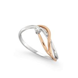 Inel de logodna din aur alb si aur roz 18K cu diamant 0,03 ct., model Orsini 2444G