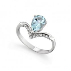 Inel din aur 18K cu acvamarin 1,07 ct. si diamante 0,06 ct., model Orsini 2543G-6X9