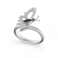 Inel din aur alb 18K cu diamante 0,13 ct., model fluture, Orsini 2678G