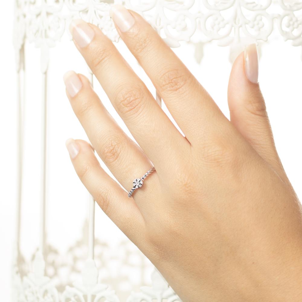Inel de logodna din aur 18K cu diamante 0,06 ct., model Orsini 2722G