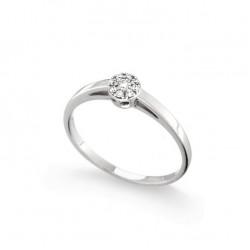 Inel de logodna din aur alb 18K cu diamante 0,10 ct., model Orsini 2742G-P