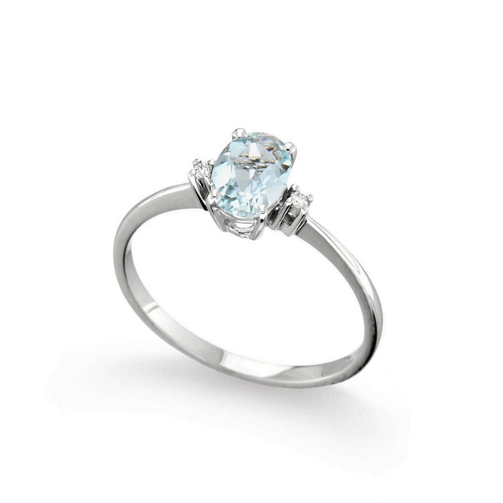 Inel de logodna din aur 18K cu acvamarin 0,60 ct. si diamante 0,02 ct., model Orsini 2756G-5X7