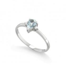 Inel de logodna din aur 18K cu acvamarin 0,30 ct. si diamante 0,02 ct., model Orsini 2783G-4X6
