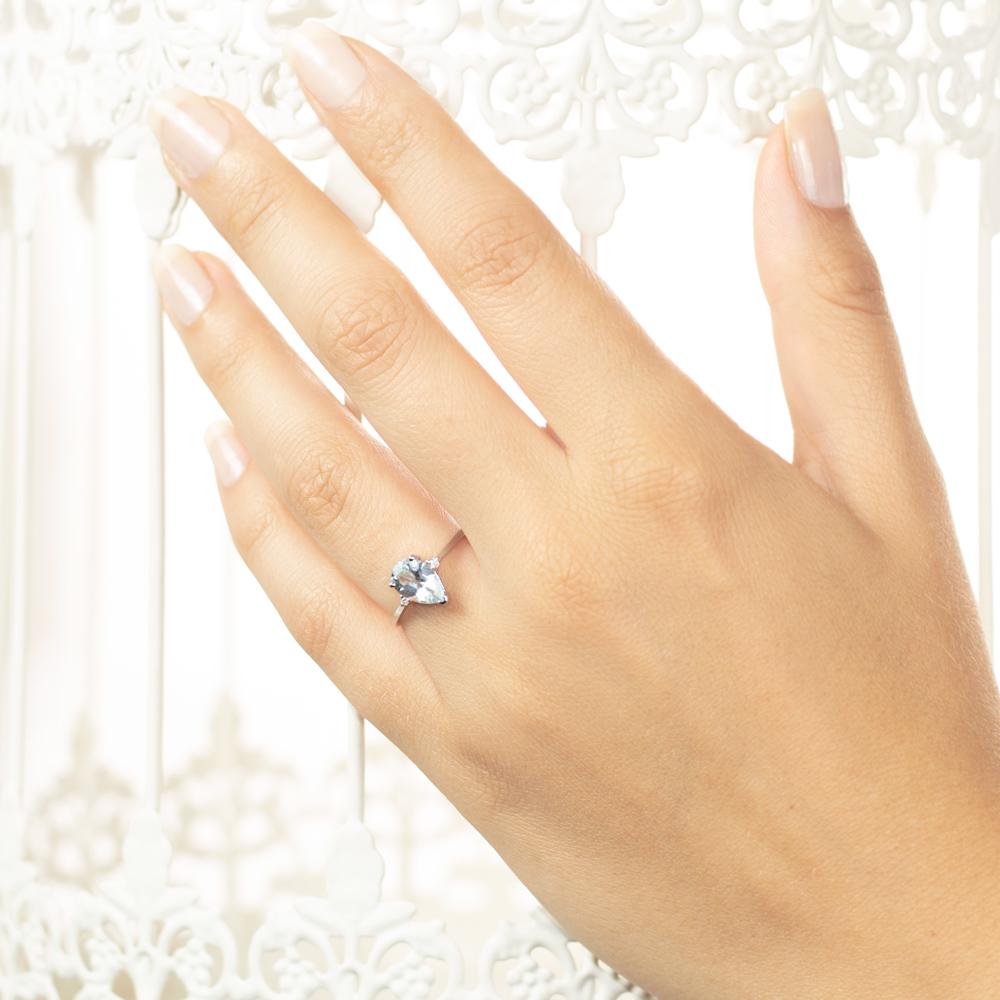 Inel de logodna din aur 18K cu acvamarin 1,12 ct. si diamante 0,02 ct., model Orsini 2783G-6X9