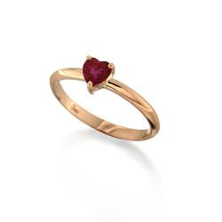 Inel din aur roz 18K cu rubin in forma de inima 0,48 ct., model Orsini 2855G-R