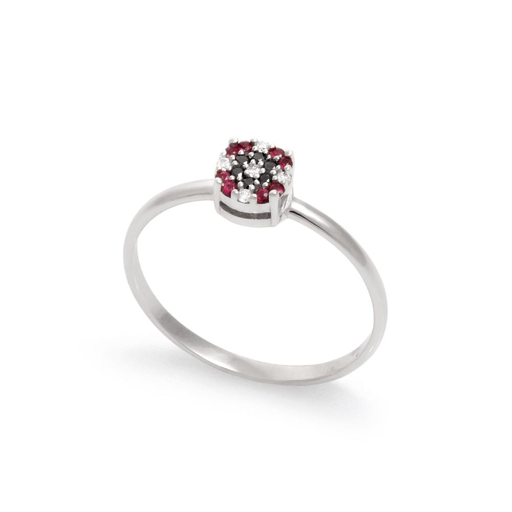 Inel din aur 18K cu diamante 0,09 ct. si rubine 0,06 ct., model Orsini Romania Special 2892G-B