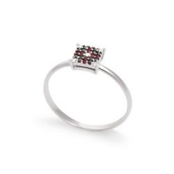 Inel din aur 18K cu diamante 0,11 ct. si rubine 0,06 ct., model Orsini Romania Special 2893G-B