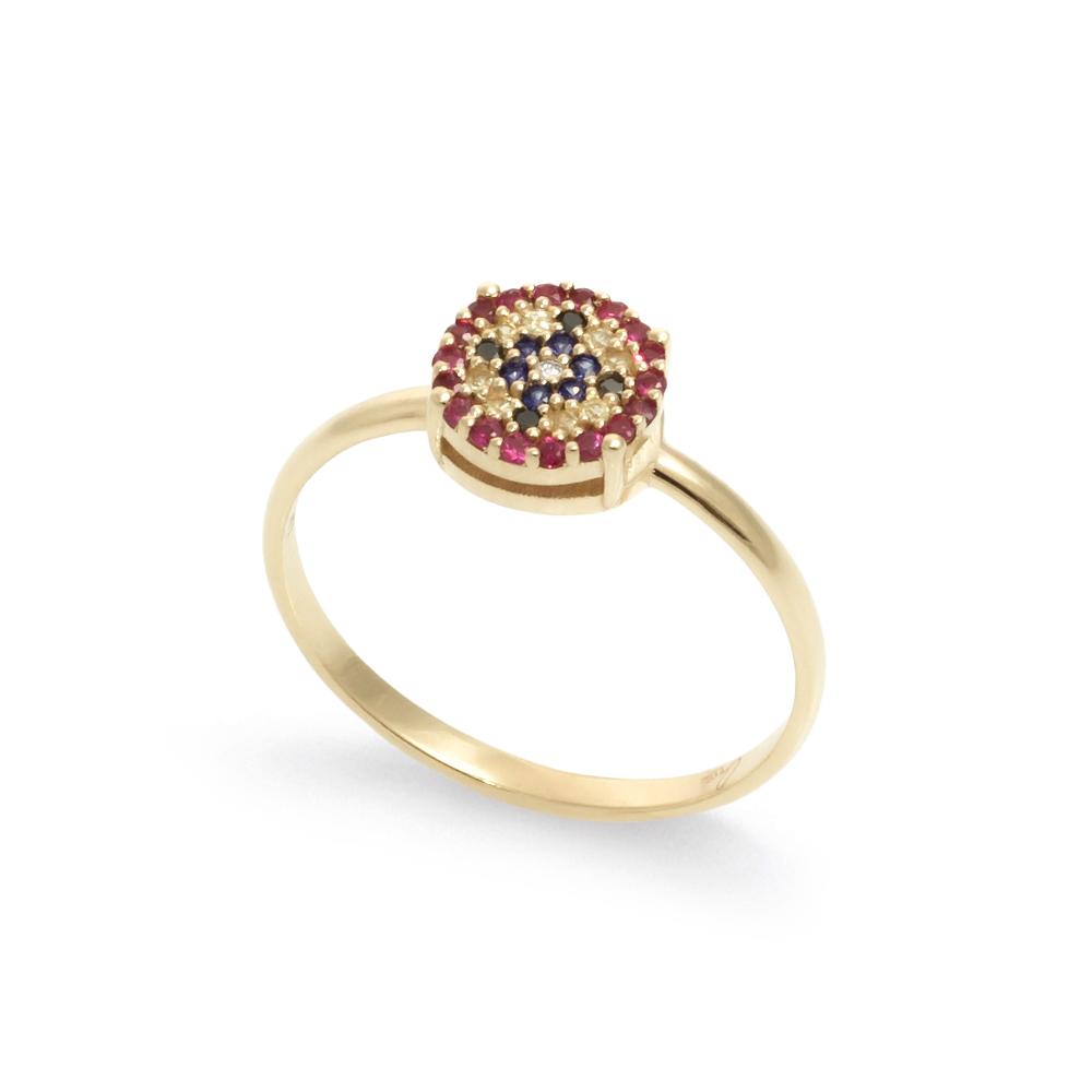 Inel din aur 18K cu diamante 0,025 ct., safire 0,09 ct. si rubine 0,11 ct., model Orsini Romania Special 2895G-B