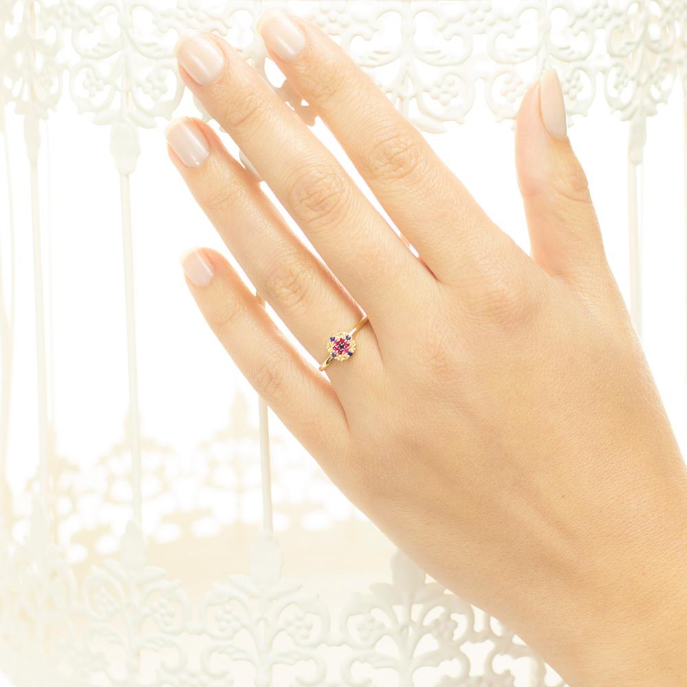 Inel din aur 18K cu diamant 0,01 ct., safire 0,15 ct. si rubine 0,07 ct., model Orsini Romania Special 2894G-B