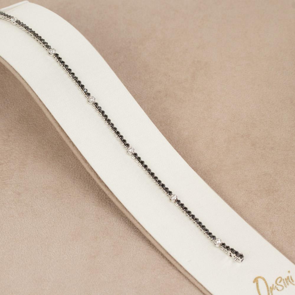 Bratara tennis din aur 18K cu diamante albe si negre 1,78 ct., model Orsini BR0137