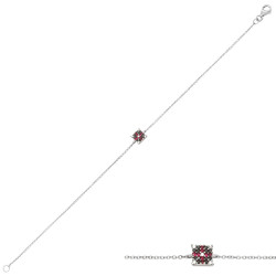 Bratara din aur 18K cu diamante 0,11 ct. si rubine 0,06 ct., model Orsini Romania Special BR0190-B