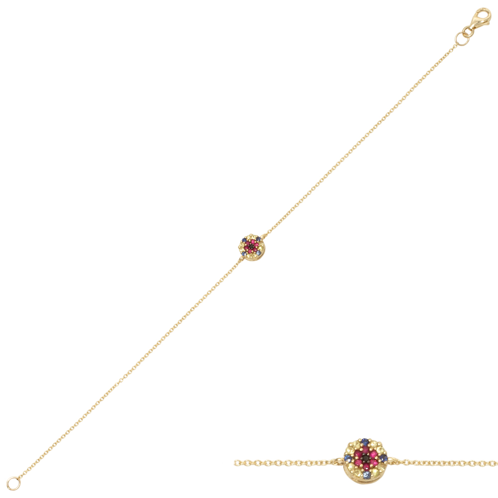 Bratara din aur 18K cu diamant 0,01 ct., safire 0,15 ct. si rubine 0,07 ct., model Orsini Romania Special BR0191-B