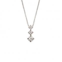 Lantisor din aur alb 18K cu pandantiv cu diamante 0,15 ct., model Orsini CI1110S-1