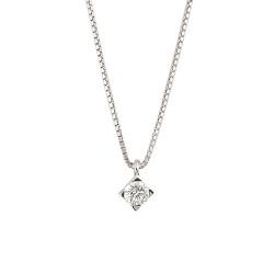 Lantisor din aur alb 18K cu pandantiv cu diamant 0,15 ct., model Orsini CI1393-15