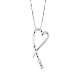 Lantisor din aur alb 18K cu pandantiv inima cu diamante 0,10 ct., model Orsini CI1425