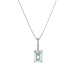 Lantisor din aur alb 18K cu pandantiv cu acvamarin 1,30 ct. si diamante 0,03 ct., model Orsini CI1563