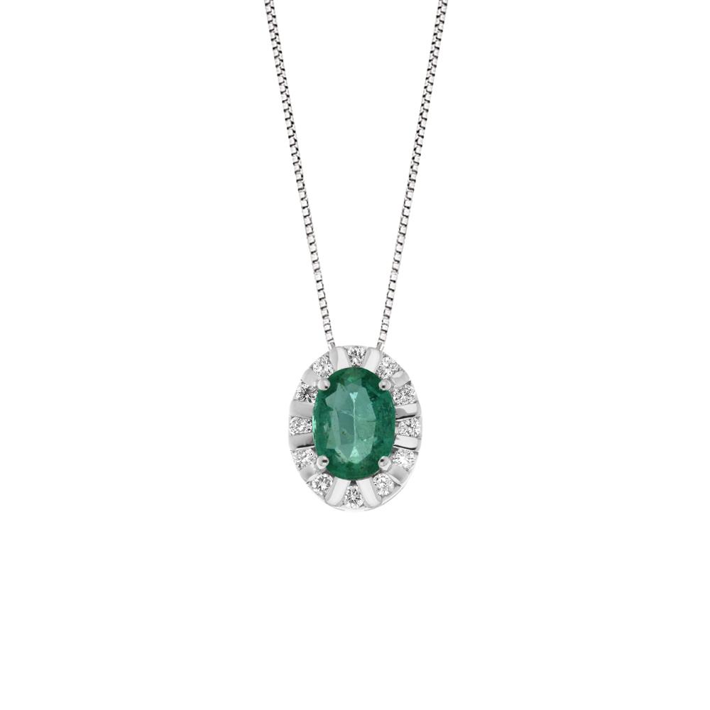 Lantisor din aur 18K cu pandantiv cu smarald 0,50 ct. si diamante 0,12 ct., model Orsini CI1614S5X7