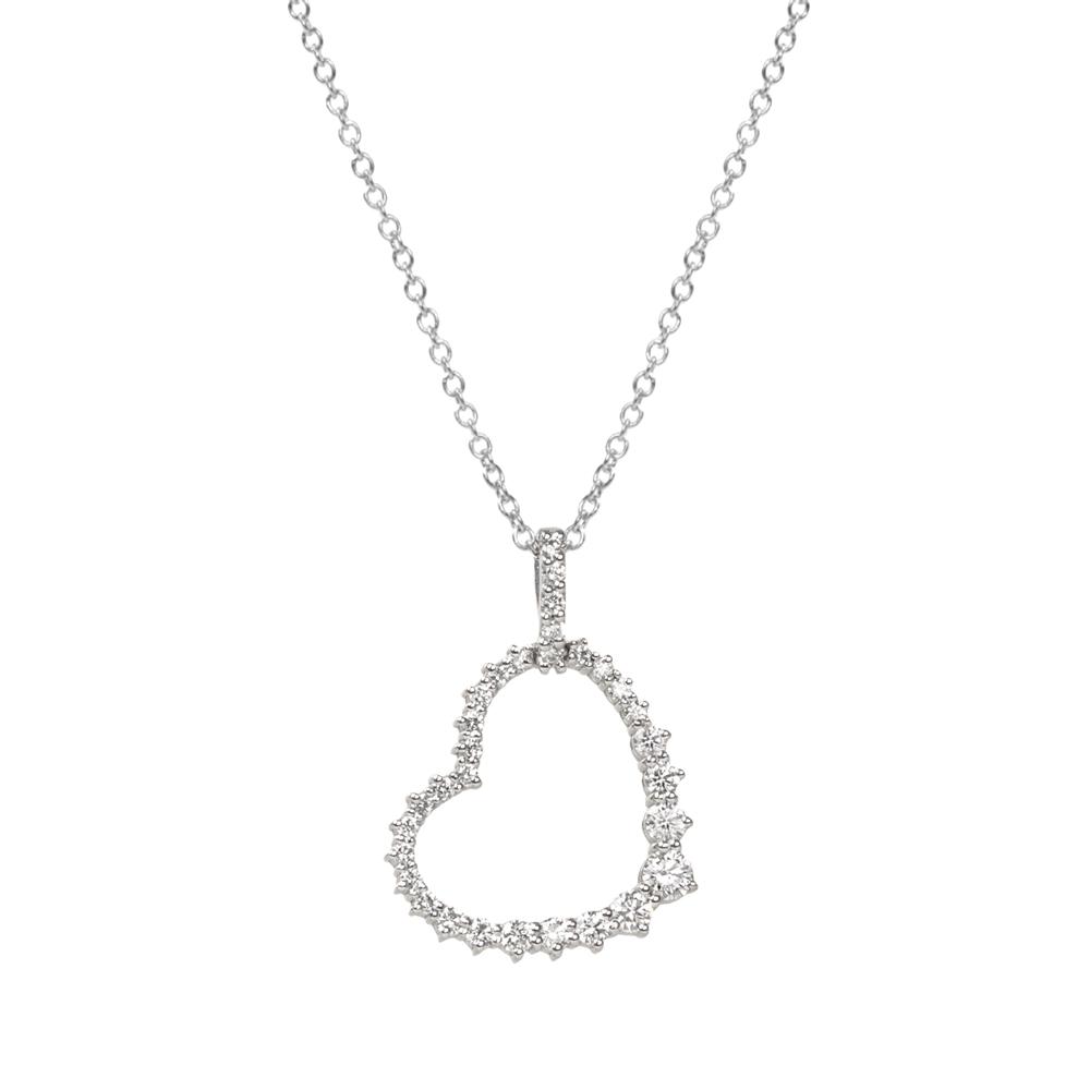 Lantisor din aur alb 18K cu pandantiv inima cu diamante 0,50 ct., model Orsini CI1623