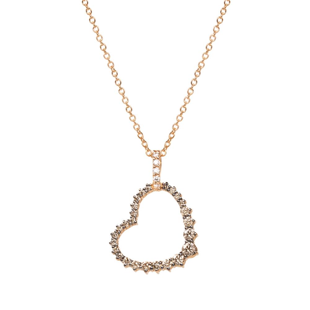 Lantisor din aur 18K cu pandantiv inima cu diamante 0,52 ct., model Orsini CI1623BW1